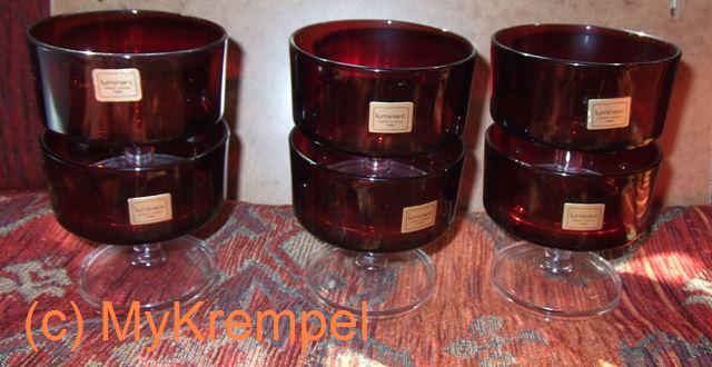 6 luminarc dessertschalen sektschalen gl ser sektgl ser rot 60er 70er jahre mykrempel. Black Bedroom Furniture Sets. Home Design Ideas